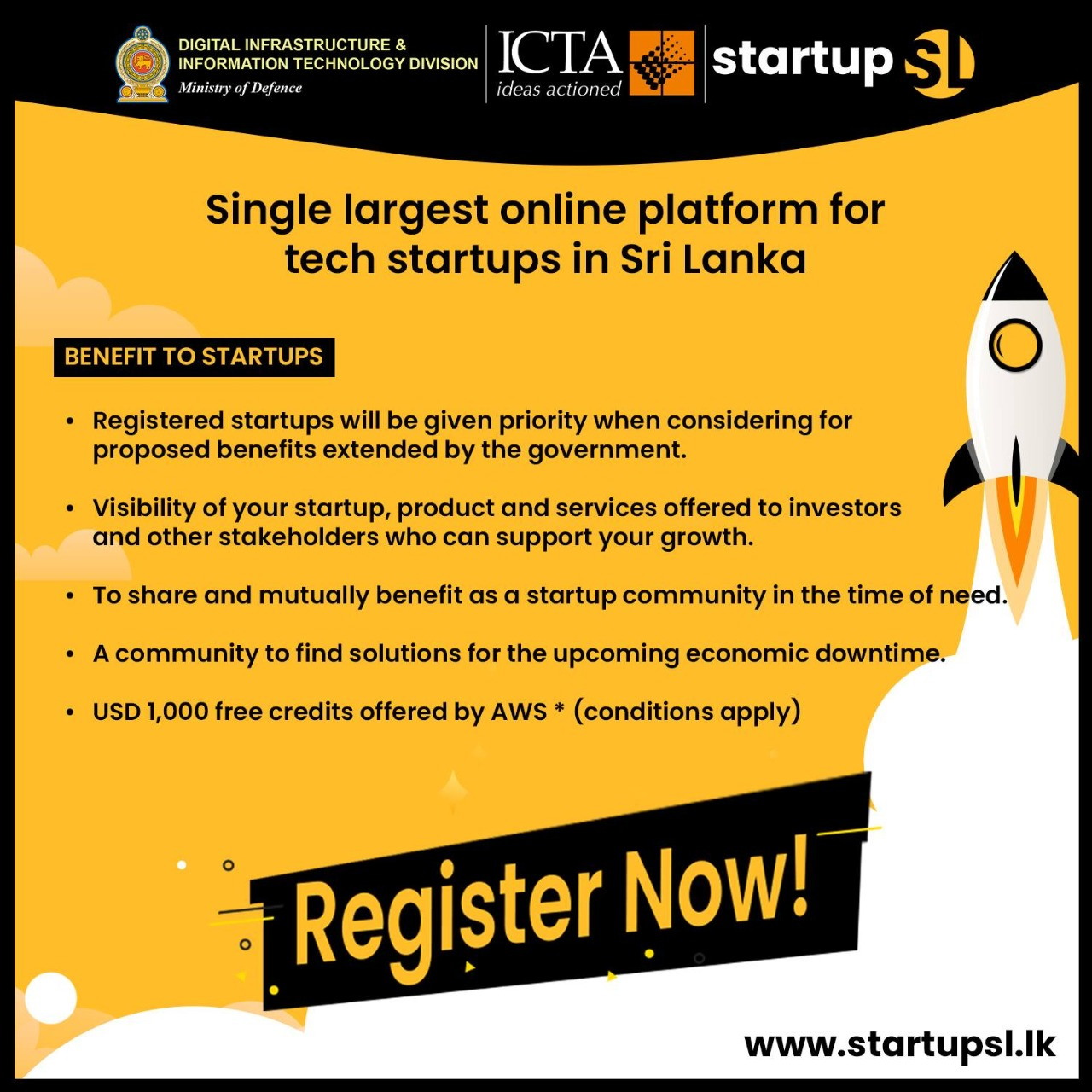 All technology startups in Sri Lanka are requested to register at Startupsl.lk